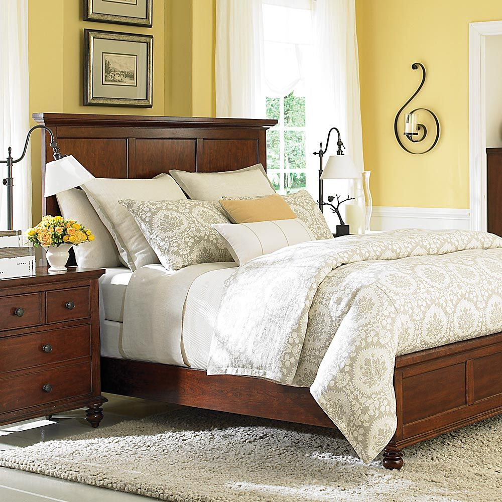 Traditional Cherry Wood Queen Panel Bed Master Bedroom