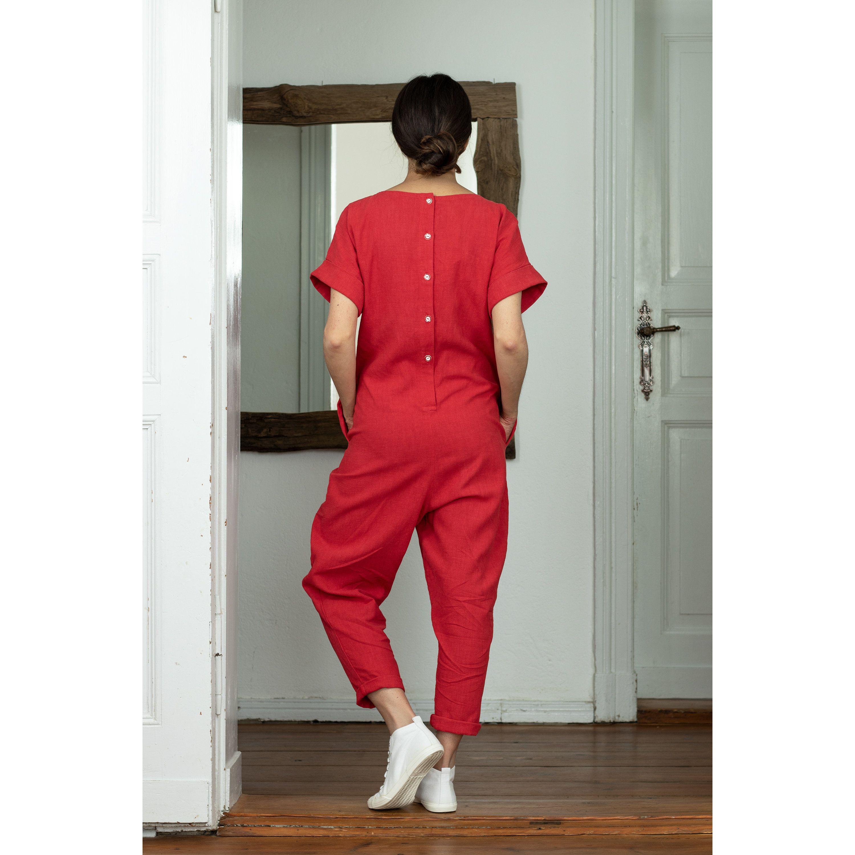 brand new 3fb84 7f3c8 Overalls/ Jumpsuit/ Linen Jumpsuit Red/Linen Overalls women ...