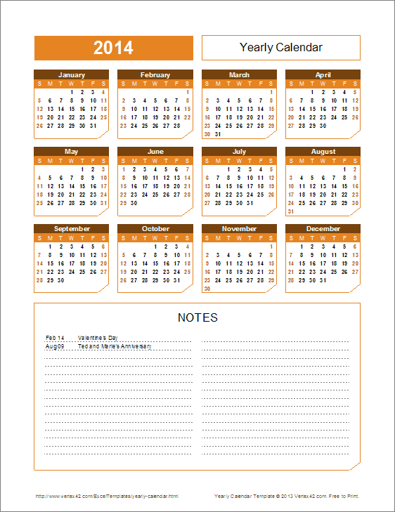 2015 Yearly Calendar Template Chamfer Theme Office Ideas