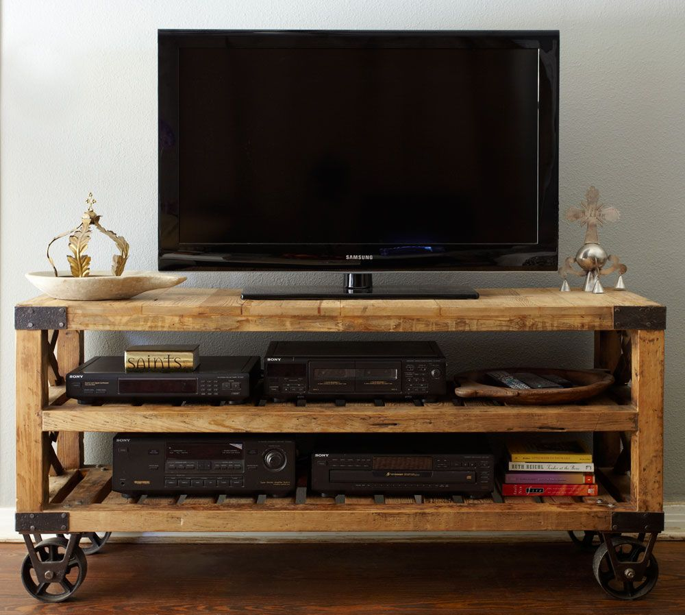 I Love This Recycled Pine Wood Industrial Wheels Awesome Entertainment Console For The