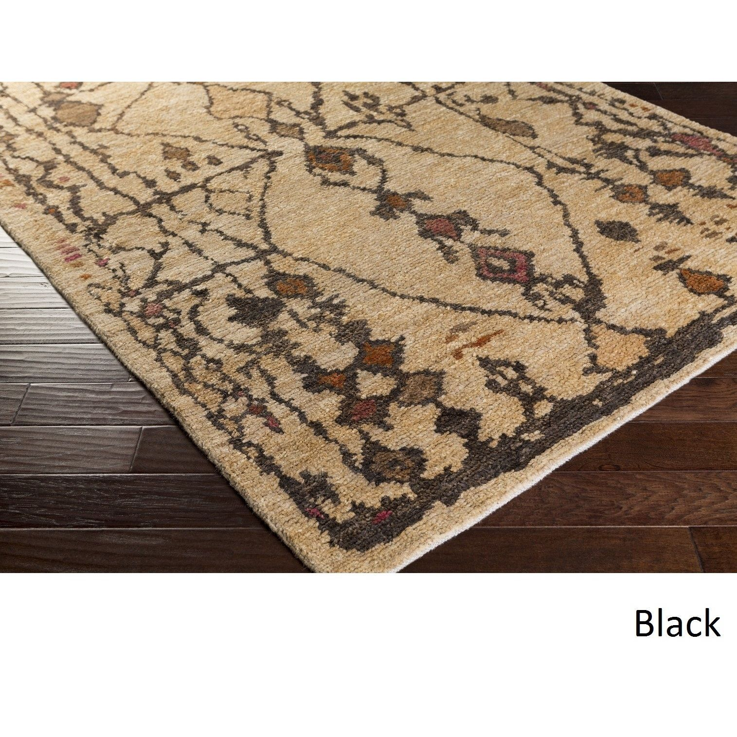 Hand-Knotted Edith Jute Rug (6' x 9') (Black), Beige, Size 6' x 9'