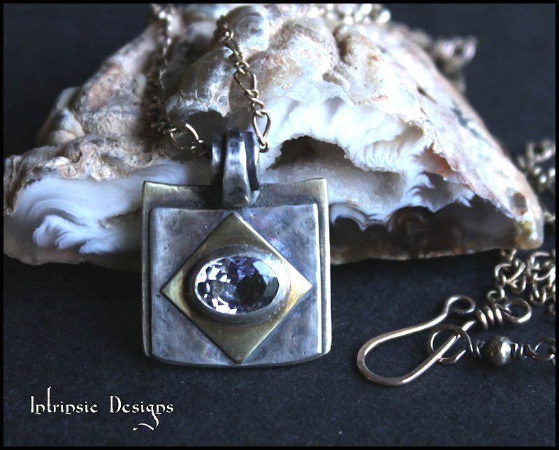 Tanzanite Mixed Metal Pendant Necklace