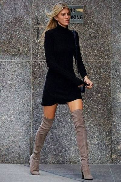 Cores Outono Inverno Sweater Dress And Boots Pinterest