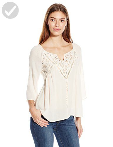 Blu Pepper Women's Woven Tunic Top with Crochet Details, Natural, Small - All about women (*Amazon Partner-Link)