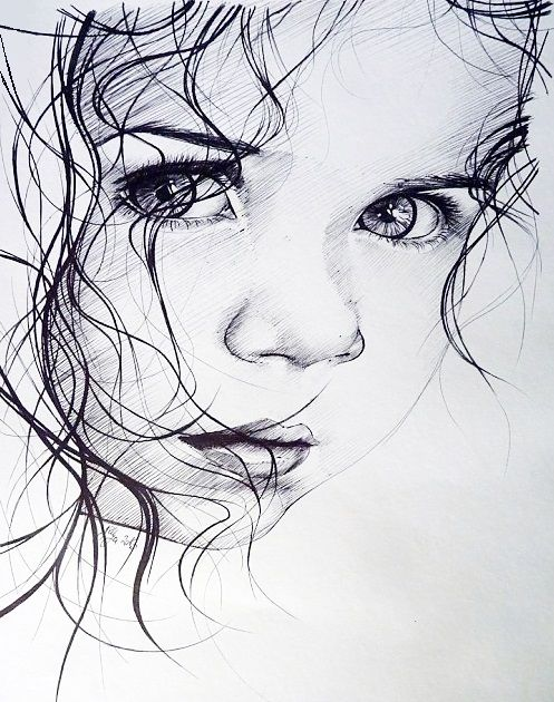 Dessin Fille Visage Jeune Young Disegni A Carboncino