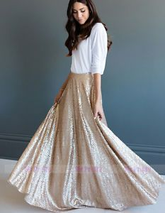 3e2928c9c Gold Sequin long Skirts/Wedding Party Formal Holiday Full Maxi Skirt Plus  Size | eBay