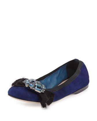 7c156886680 Miu Miu Suede Crystal Bow Ballerina Flat