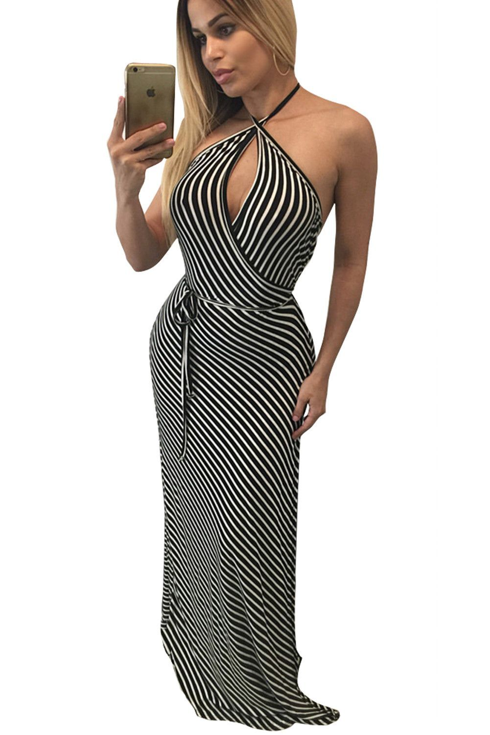 Fashionable but simple contrast stripes wrapped halter her maxi