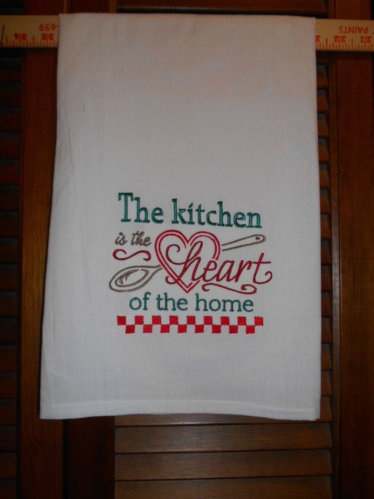 Groovy Details About Embroidered Flour Sack Towel The Kitchen Is Home Interior And Landscaping Eliaenasavecom