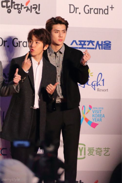 Baekhyun Sehun 160114 25th High1 Seoul Music Awards Red Carpet Credit Seoul Music Awards Sehun Baekhyun
