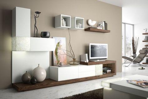 Beige Wandfarbe Und Modulare Wohnwand In Weiss Holz