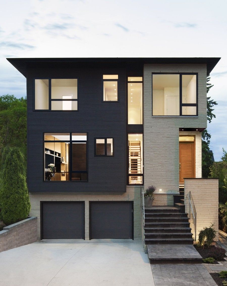 Minimalist house architecture with flat roof feat modern tall window design and glass outdoor stairs railing