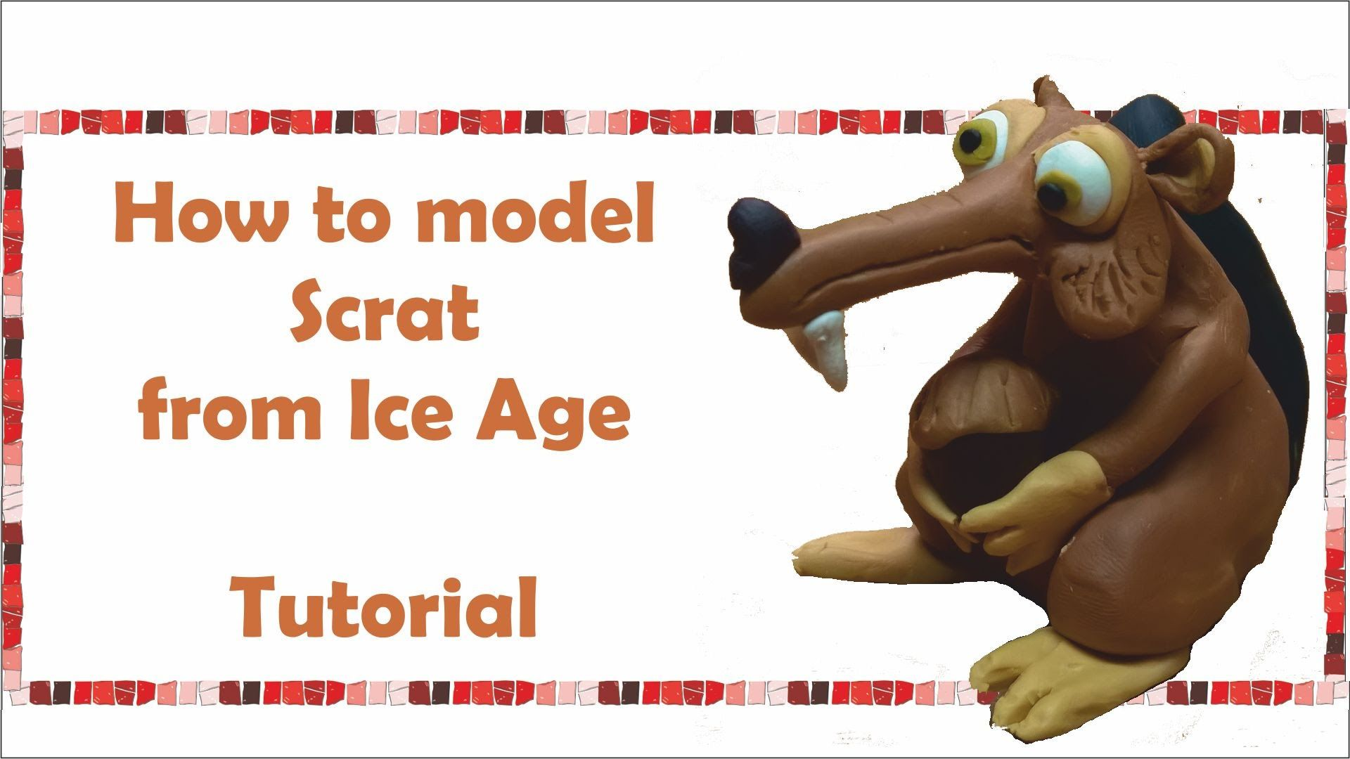 How To Make Scrat From Ice Age Polymer Clay Fondant Fimo -8074