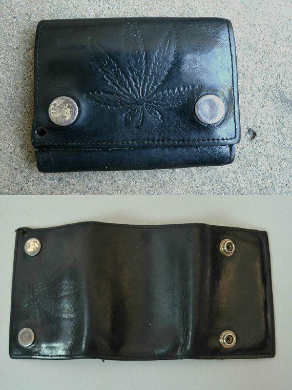 Dad's Wallet | 1970 Marijuana Weed Herb Leather Black Snap Tri-Fold Mens Vintage Wallet