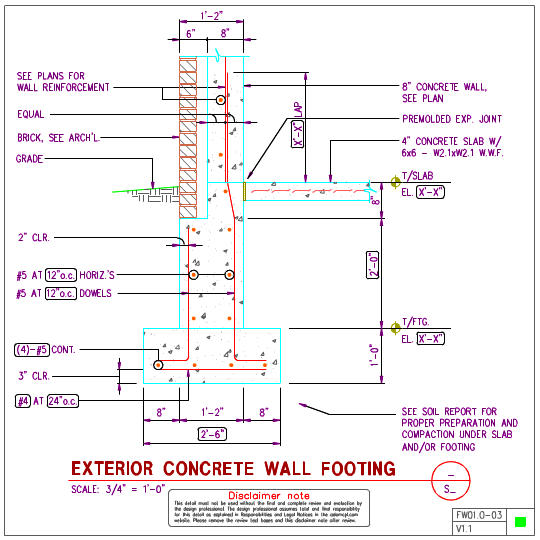 Fw01 0 Exterior Wall Footing With 8in Concrete Wall Axiomcpl Central Professional Library Concrete Wall Concrete Concrete Slab
