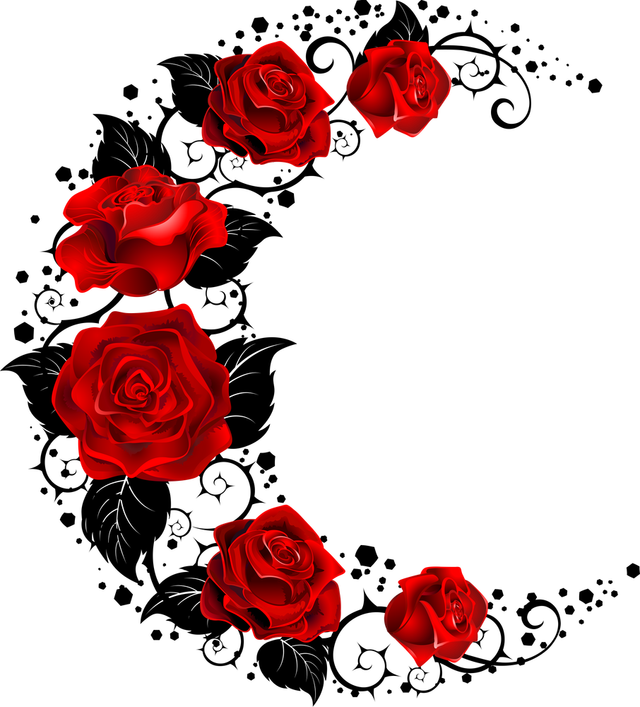 Moon Of Red Roses Sticker By Blackmoon9 White 3 X3 Red Rose Tattoo Rose Vine Tattoos White Rose Tattoos