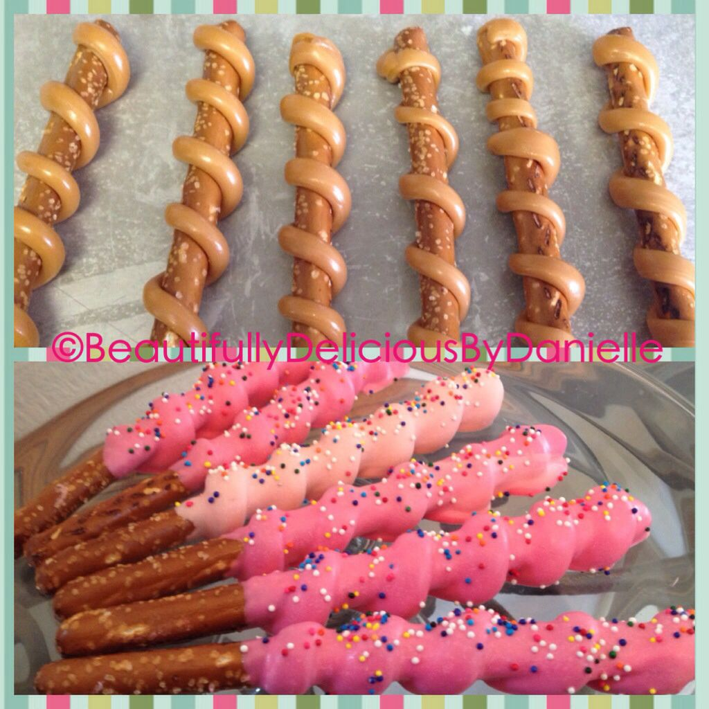 chocolate-covered pretzel rods: purple coating + white chocolate ...