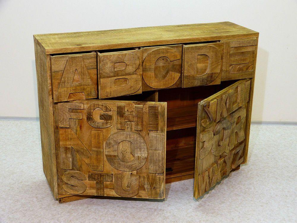 Sideboard Kommode Buchstaben Schrank Vintage Shabby Akazie massiv echt Holz möbel Pinterest