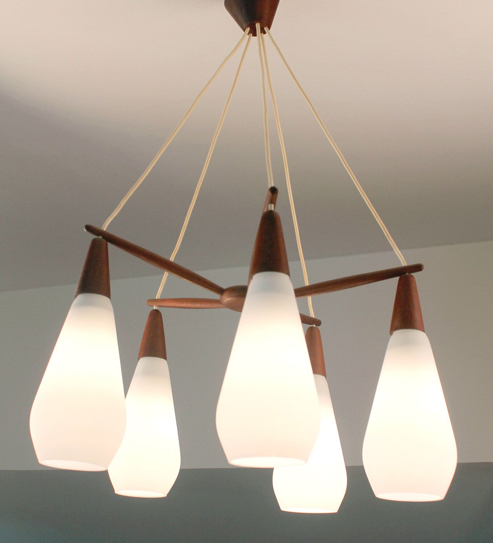 Swedish 60s Luxus Mid Century Chandelier Lamp Light // Teak Glass ...