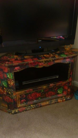 TV unit in decoupage