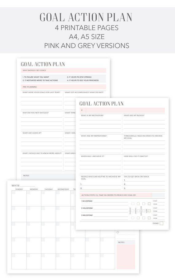 goal action plan printable weekly planner calendar planner 2018 2019