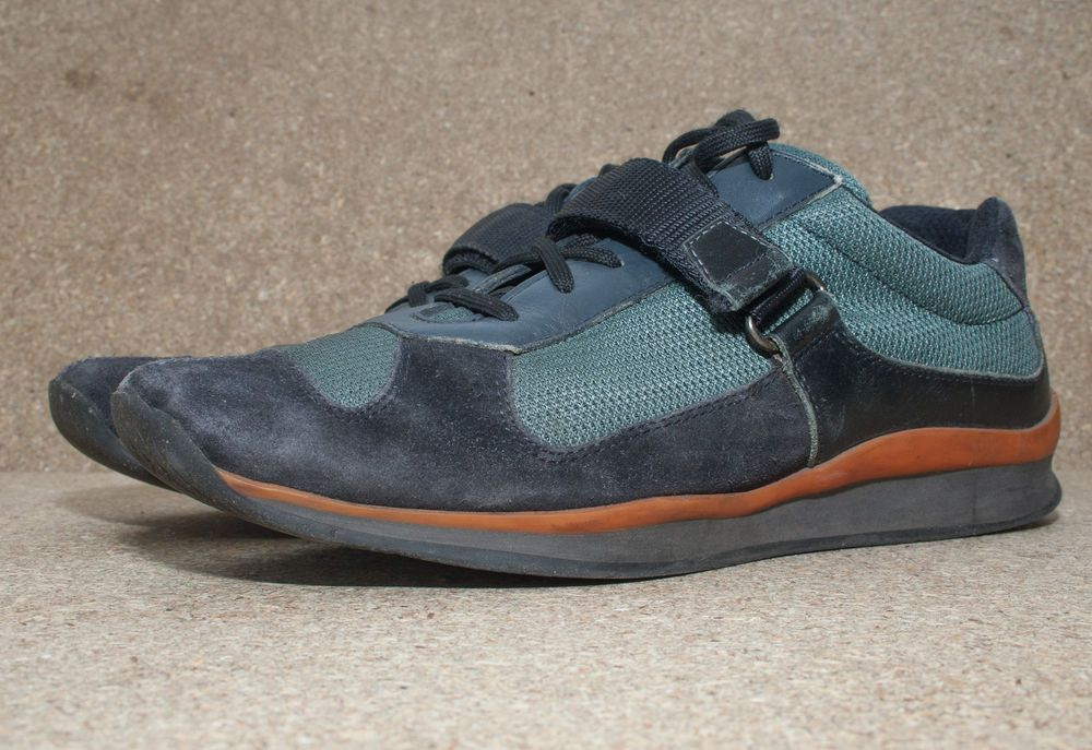 a791023471c2 Prada Mens Trainers Size UK 8 Leather Suede Canvas Black Green Sneakers    Shoes  PRADA