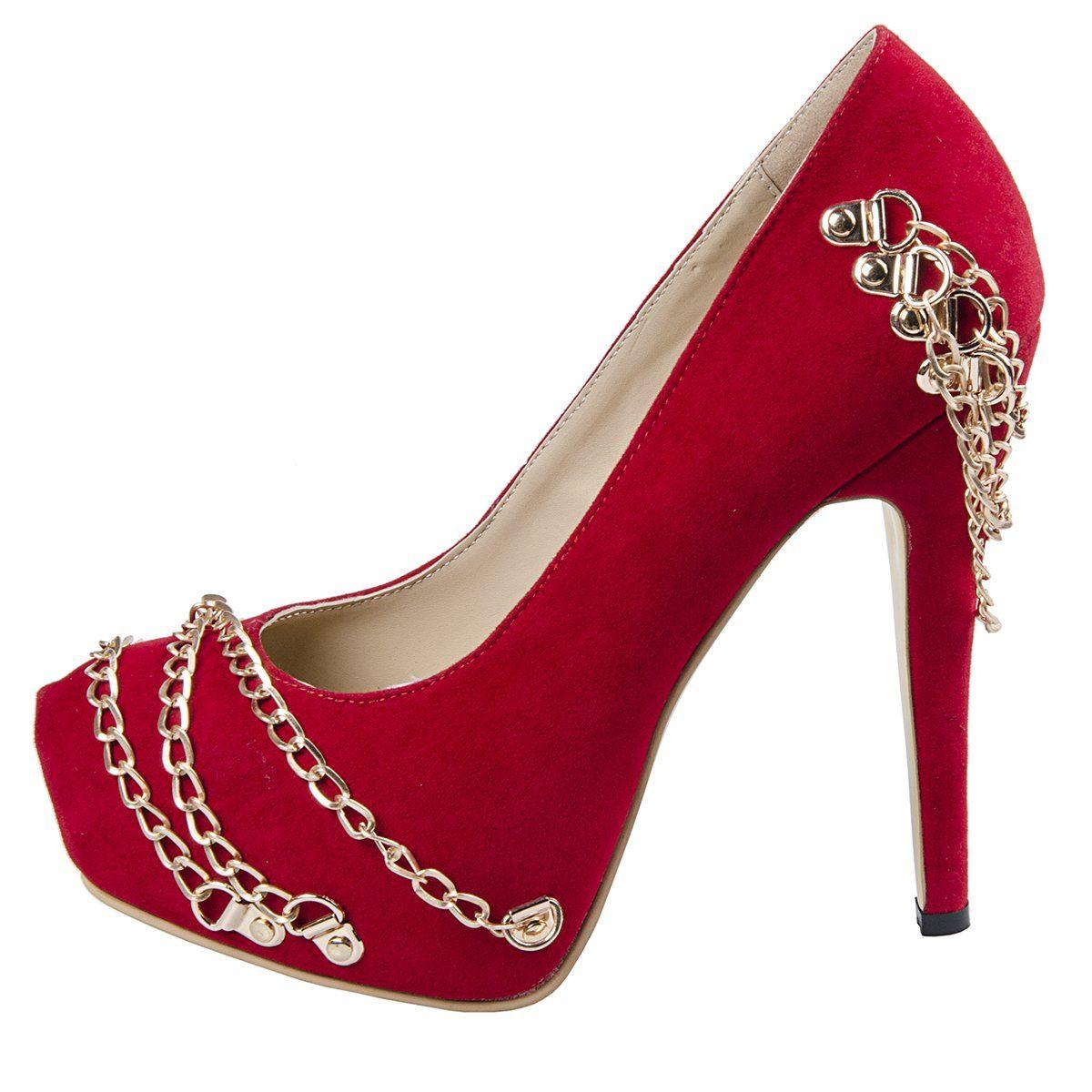 FootGift escarpin rouge en daim a talon haut décoré avec des chaines avec  un bout rond
