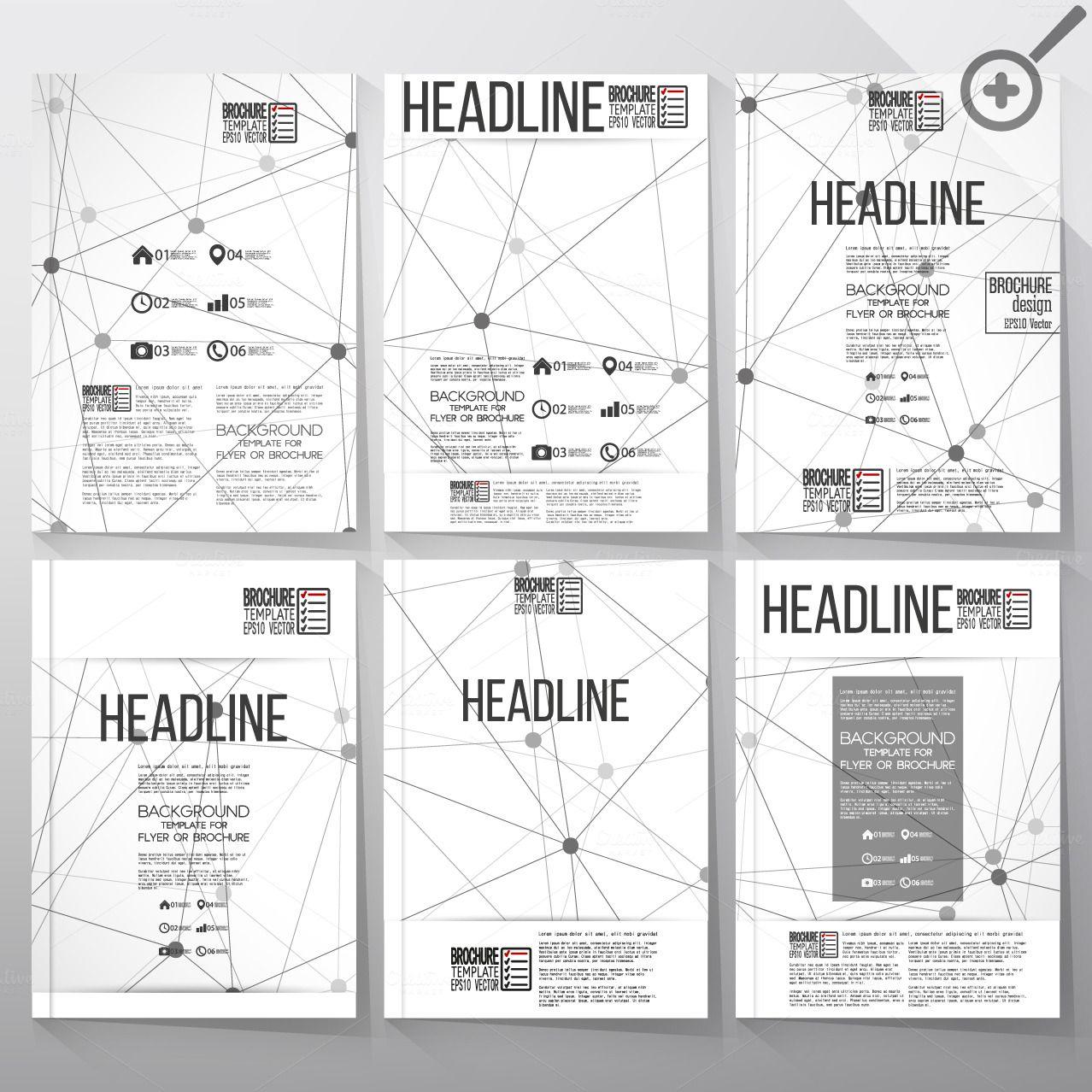 Brochures with molecular structure by VectorShop on Creative Market