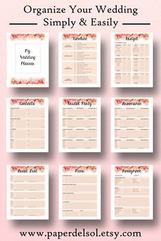 Wedding Planner Printable Book Planning Binder Printables Checklist Letter Size Instant