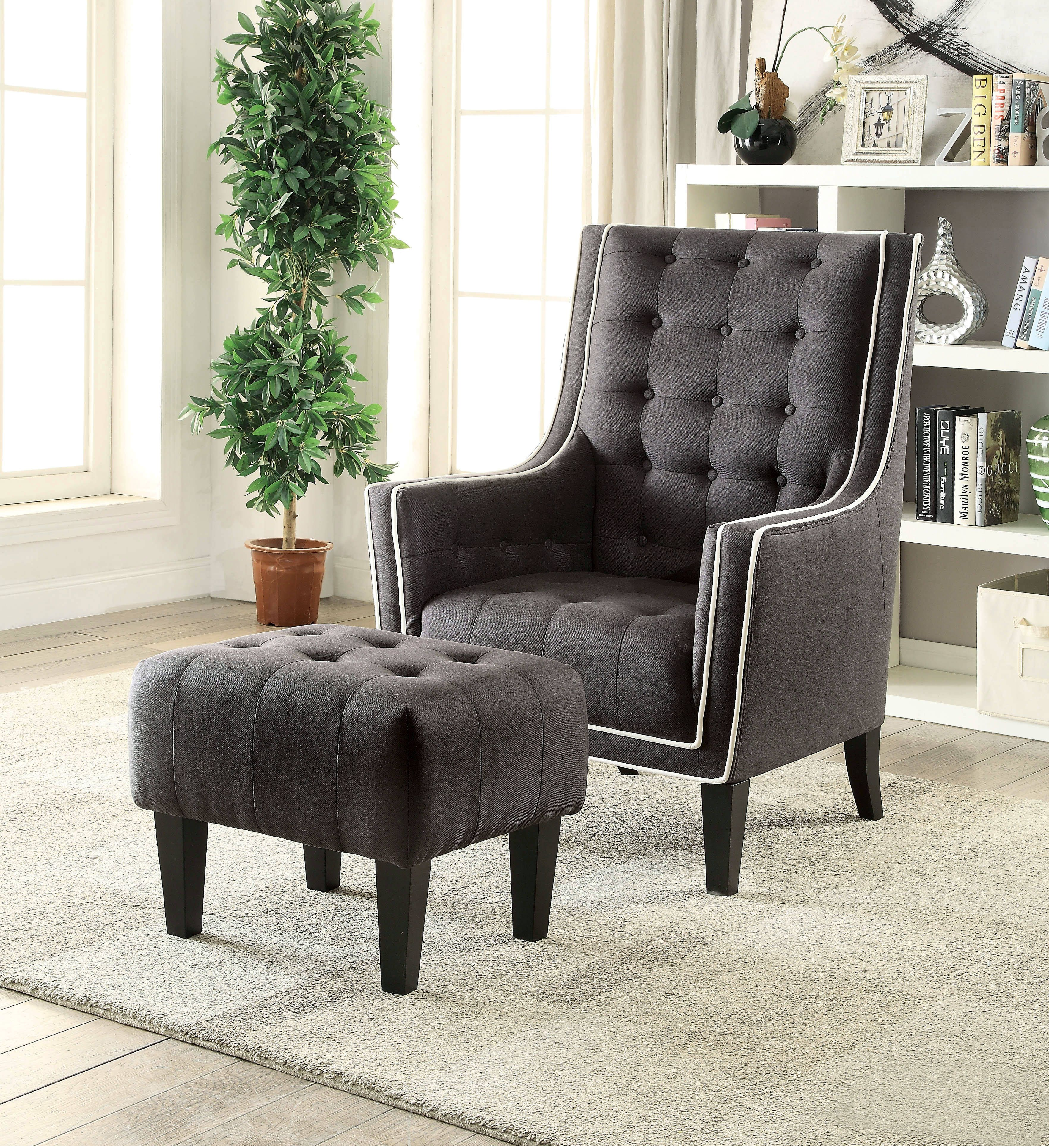 Ophelia Black Button Tufted Fabric Wood Leg Chair and Ottoman Set ...