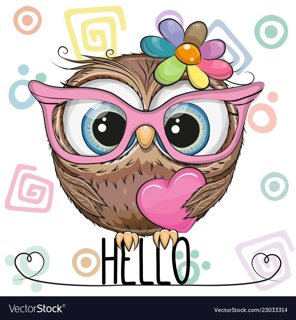 Cute Owl In A Pink Glasses With Heart Royalty Free Vector Owl Cartoon Cute Cartoon Cute Drawings