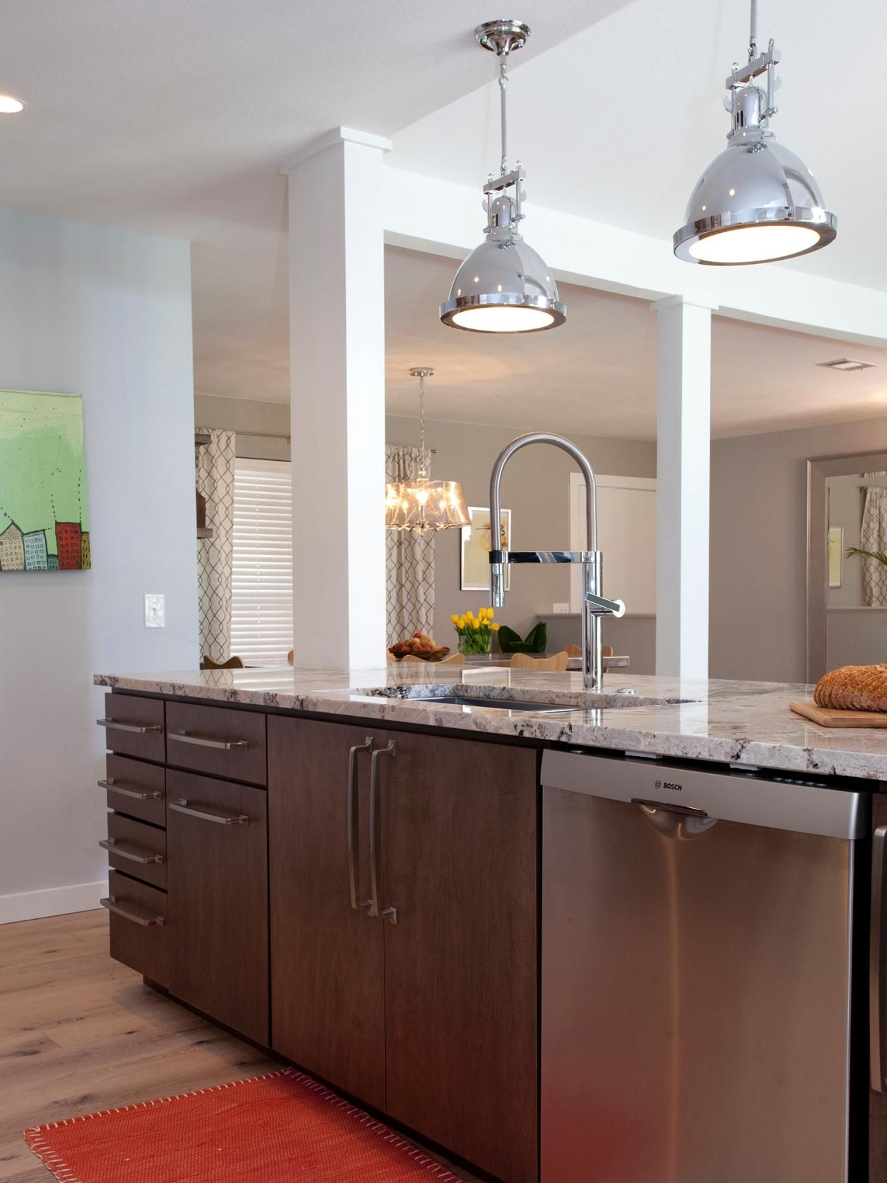 As Seen On Hgtv S Property Brothers Jonathan And Drew Scott Removed The Wall B Replacing Kitchen Countertops Stainless Steel Kitchen Lighting Elegant Kitchens