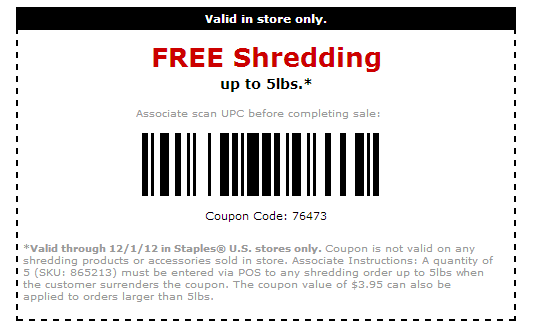 picture relating to Staples Coupons Printable referred to as Totally free Shredding At Staples cost-free things ! Cost-free printable
