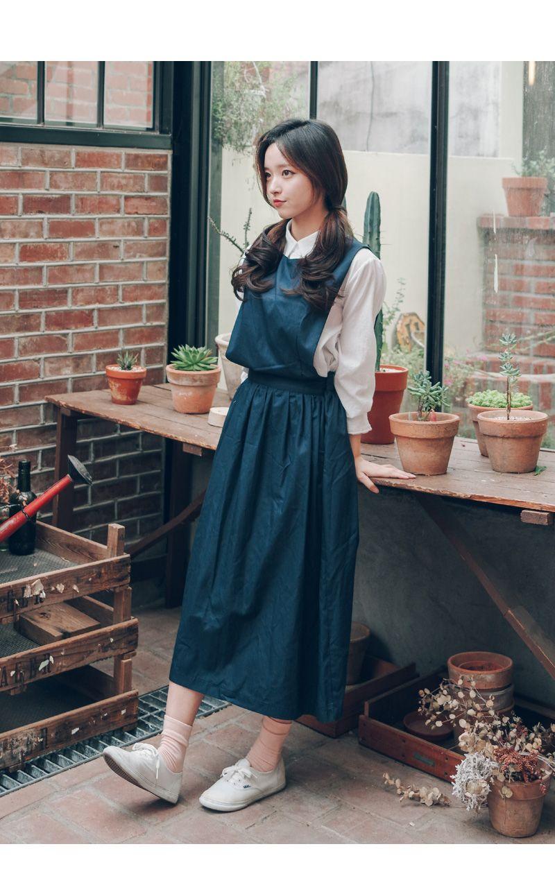 Overall skirt korean want this outfit so muchh skirt pinterest