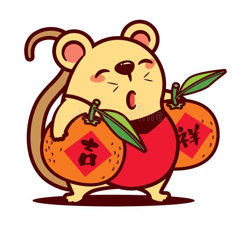 Cartoon cute rat carrying big mandarin oranges. The year