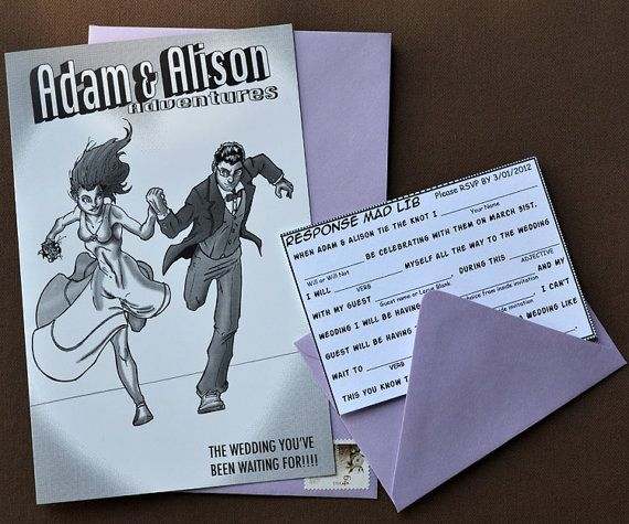 Comic Book Style Wedding Invitation Customized Unique Made To Order And Invitations