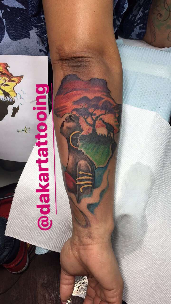 Africa tattoo twitter search tatted pierced for Black african queen tattoos