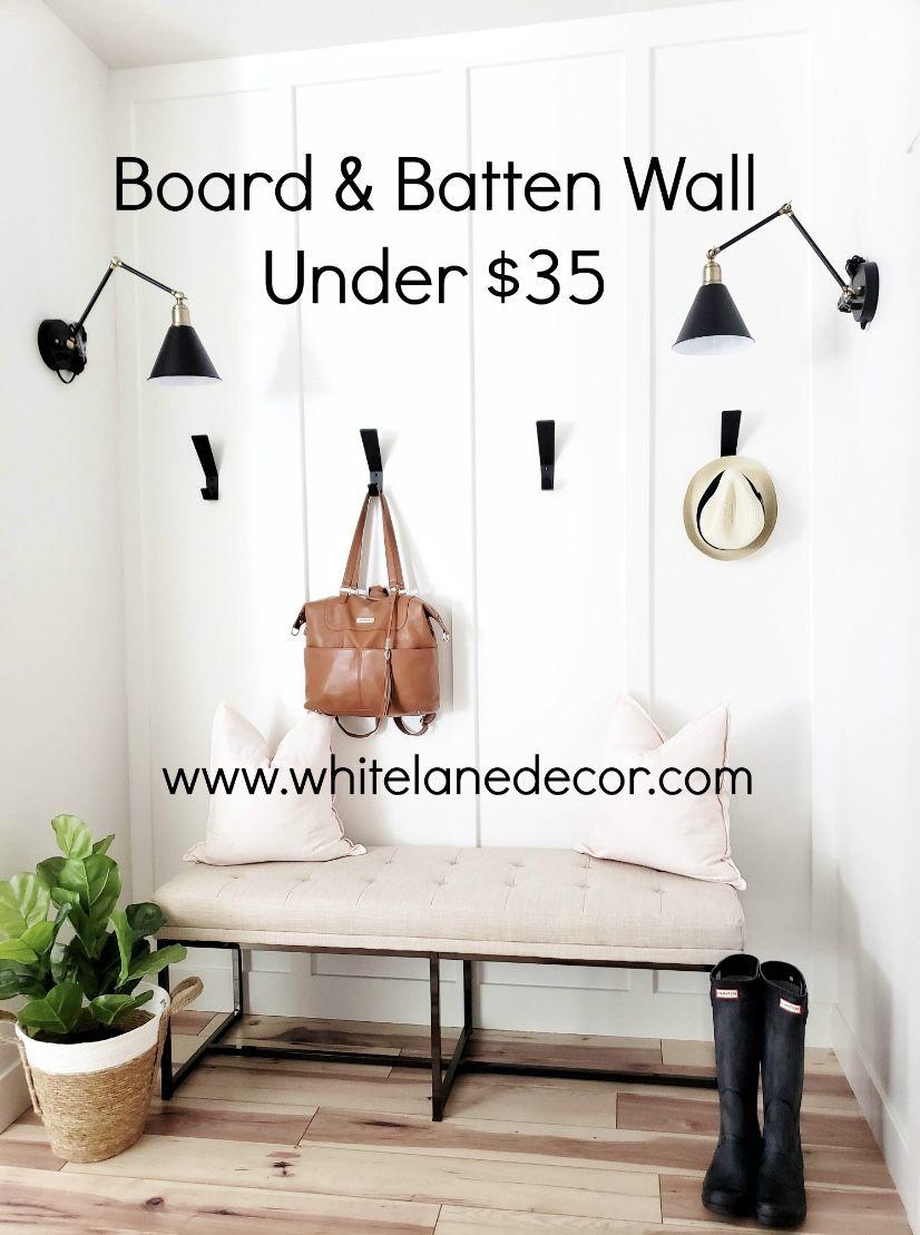 Easy Board & Batten Wall Under $35 #boardandbattenwall