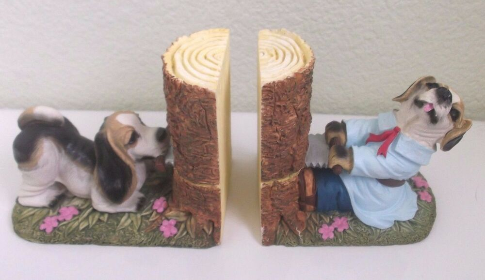 Details About Dog Bookends Dogs Sawing A Tree Stump China