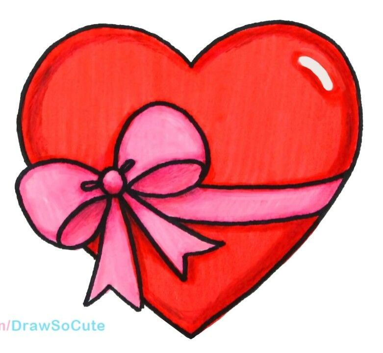 Heart Gift Cartoon Drawing For Kids Easy Drawings Valentines Day Drawing