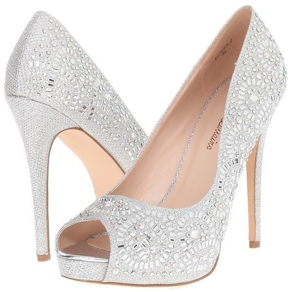 395a7258ee Lauren Lorraine Elissa-2 (Silver Sparkle) High Heels ($109) ❤ liked on  Polyvore featuring shoes, sandals, silver high heel shoes, metallic  sandals, ...