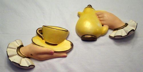 Vtg 2 pc set Chalkware Plaster Teapot Teacup Saucer Hands Wall ...