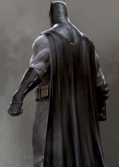 Concept art for Ben Affleck as Batman / Bruce Wayne from DC's Batman v Superman - Dawn of Justice (2016). The Batsuit's scarred and figure-hugging fabric combined with the design of the mask and cowl emphasize this Batman's raw brutality and years of experience as a crimefighter.