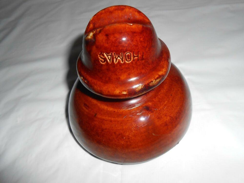 Vintage Thomas Ceramic Saddle Back Threaded Glazed Brown Insulator Insulation Glass Insulators Ceramics