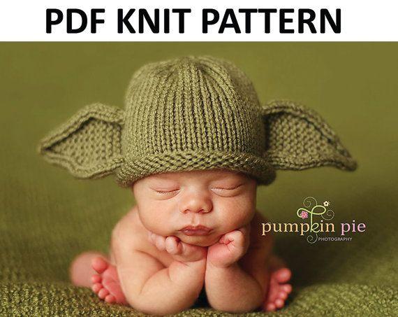 Yoda Hat Pattern Knit by PinkToad on Etsy  d9aa8abb8f3