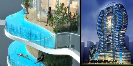 Balconies with swimming pools bandra ohm residential - Swimming pool construction in india ...