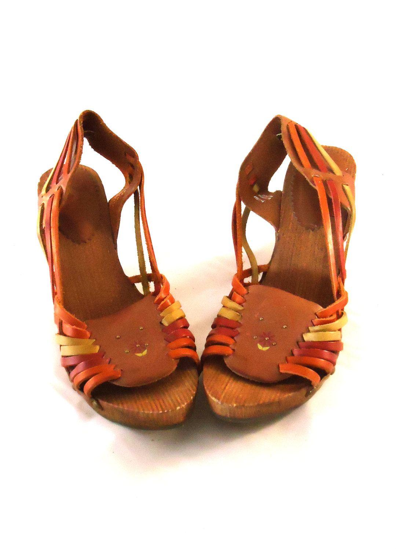 bbcb7fefd4e Unworn Burnt Sienna Braided Basket Weave Leather Wood Heel Peep Toe Clog  Sandals Slings w  Back Straps Shoes 9.5M 42 by aintweswank on Etsy