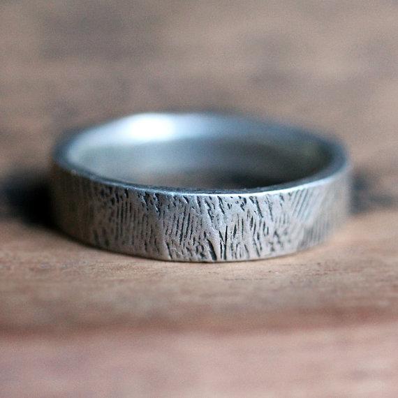Mens Silver Wedding Band Woodgrain Ring Rustic Tree Bark Recycled Custom Made