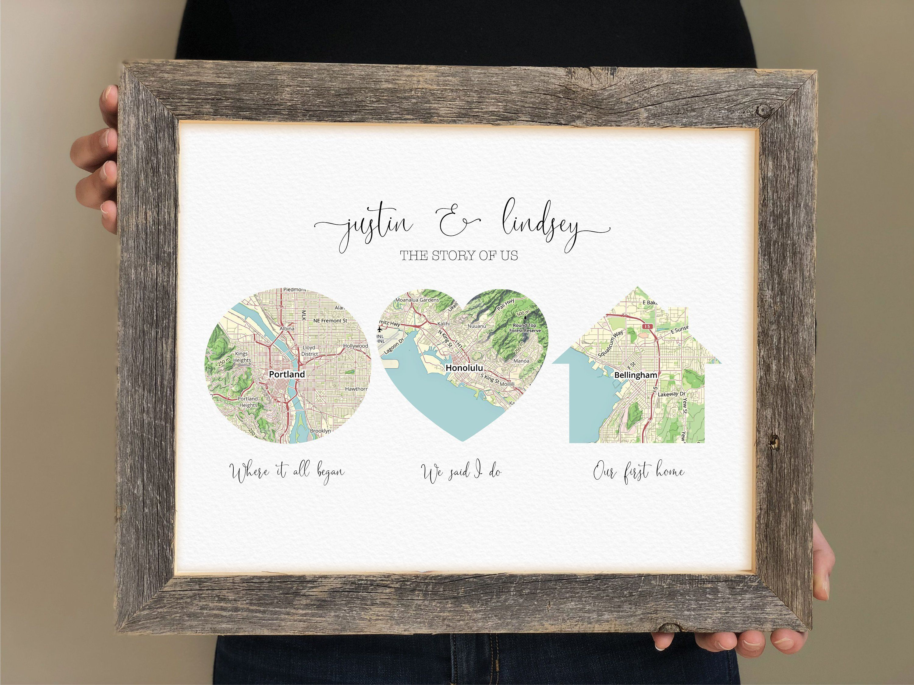 Map Wedding Gift Groom Gift from Bride, Personalized Gift