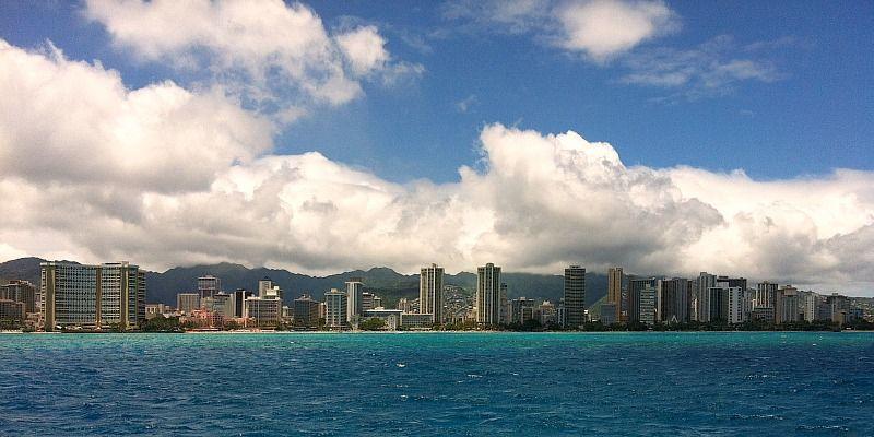 Things to Do in 5 Days on Oahu - Catamaran sail view of Waikiki skyline